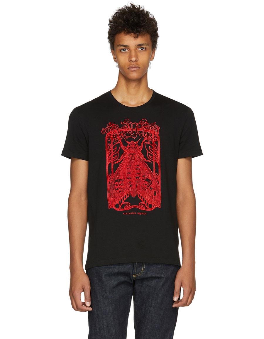ALEXANDER MCQUEEN Black Moth Skull T Shirt