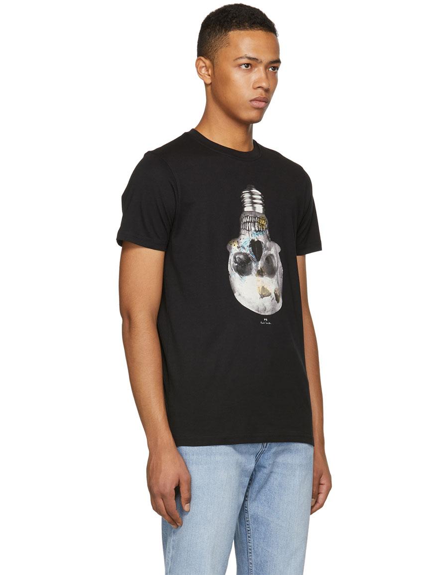 PAUL SMITH Black Slim Fit Skull T Shirt