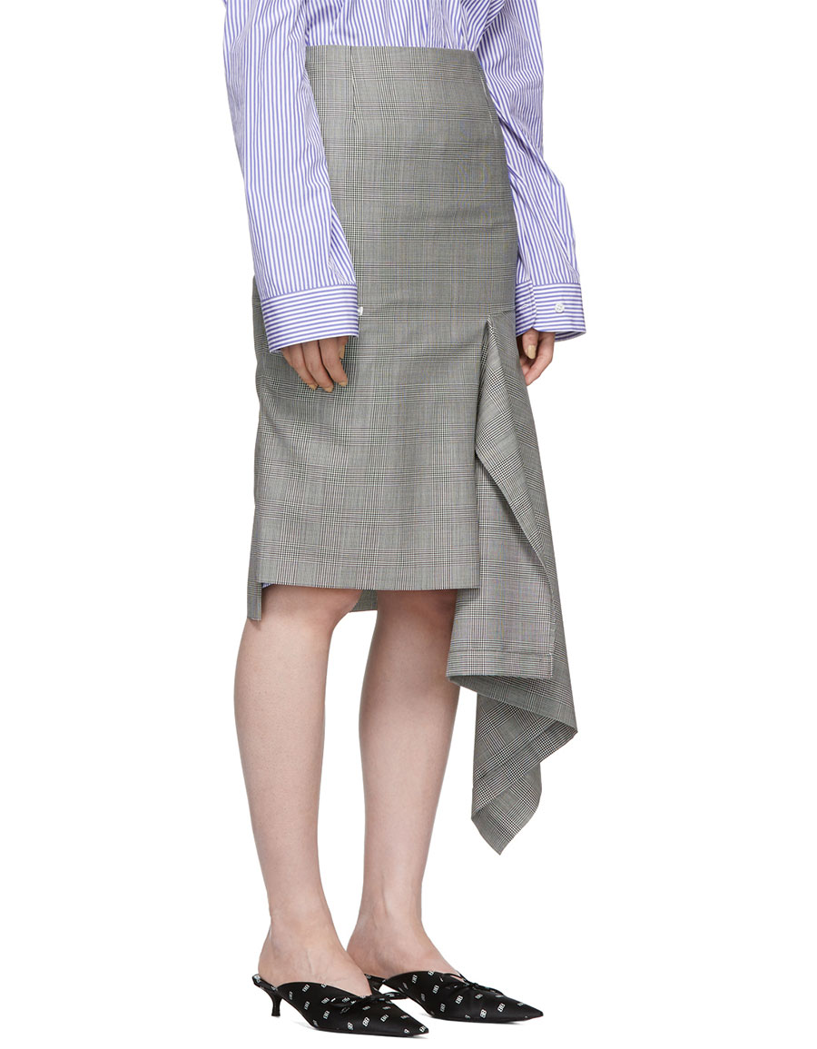BALENCIAGA Black & White Godet Prince Of Wales Check Skirt