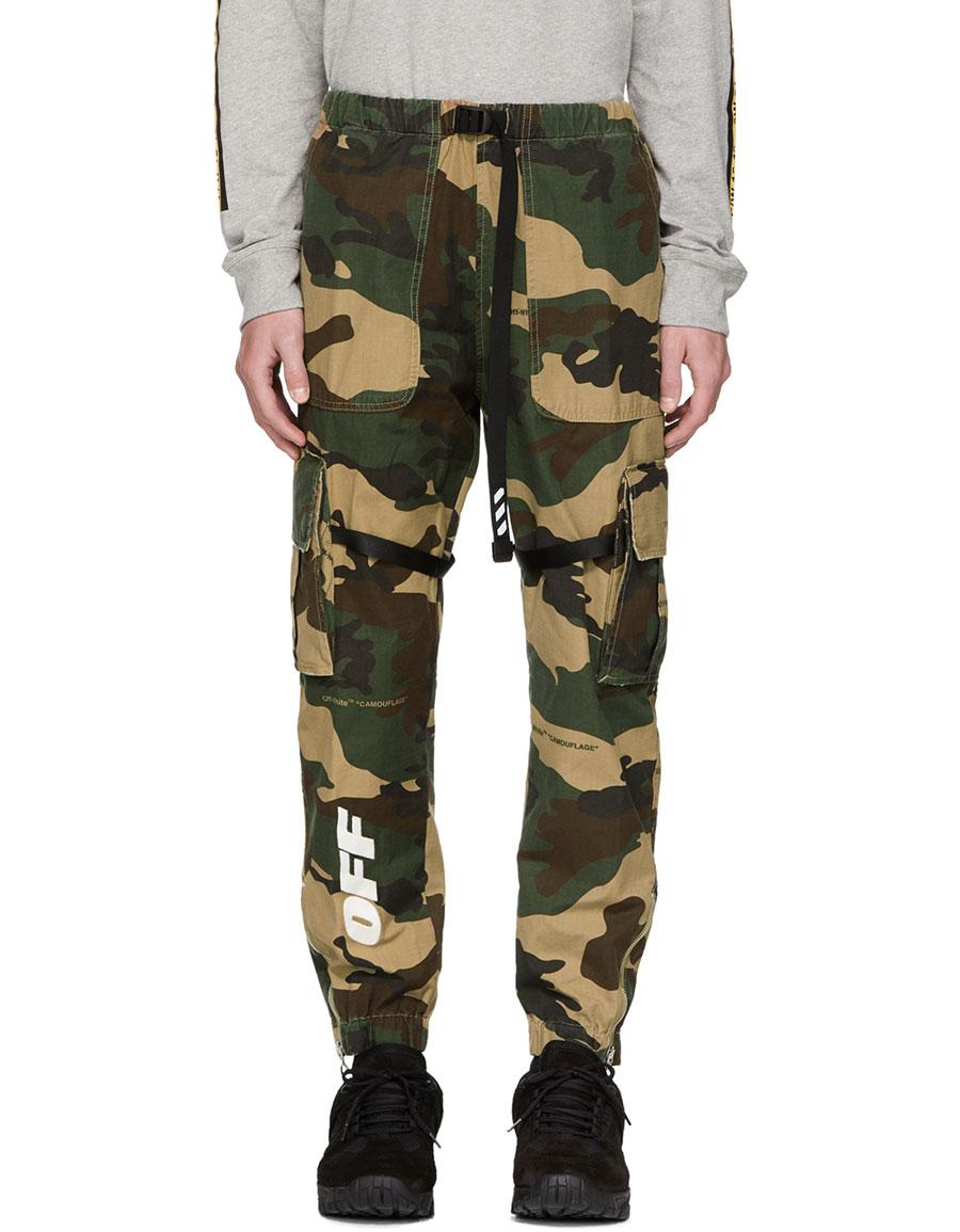 7950026268a0 OFF-WHITE Green Camo Parachute Cargo Pants · VERGLE