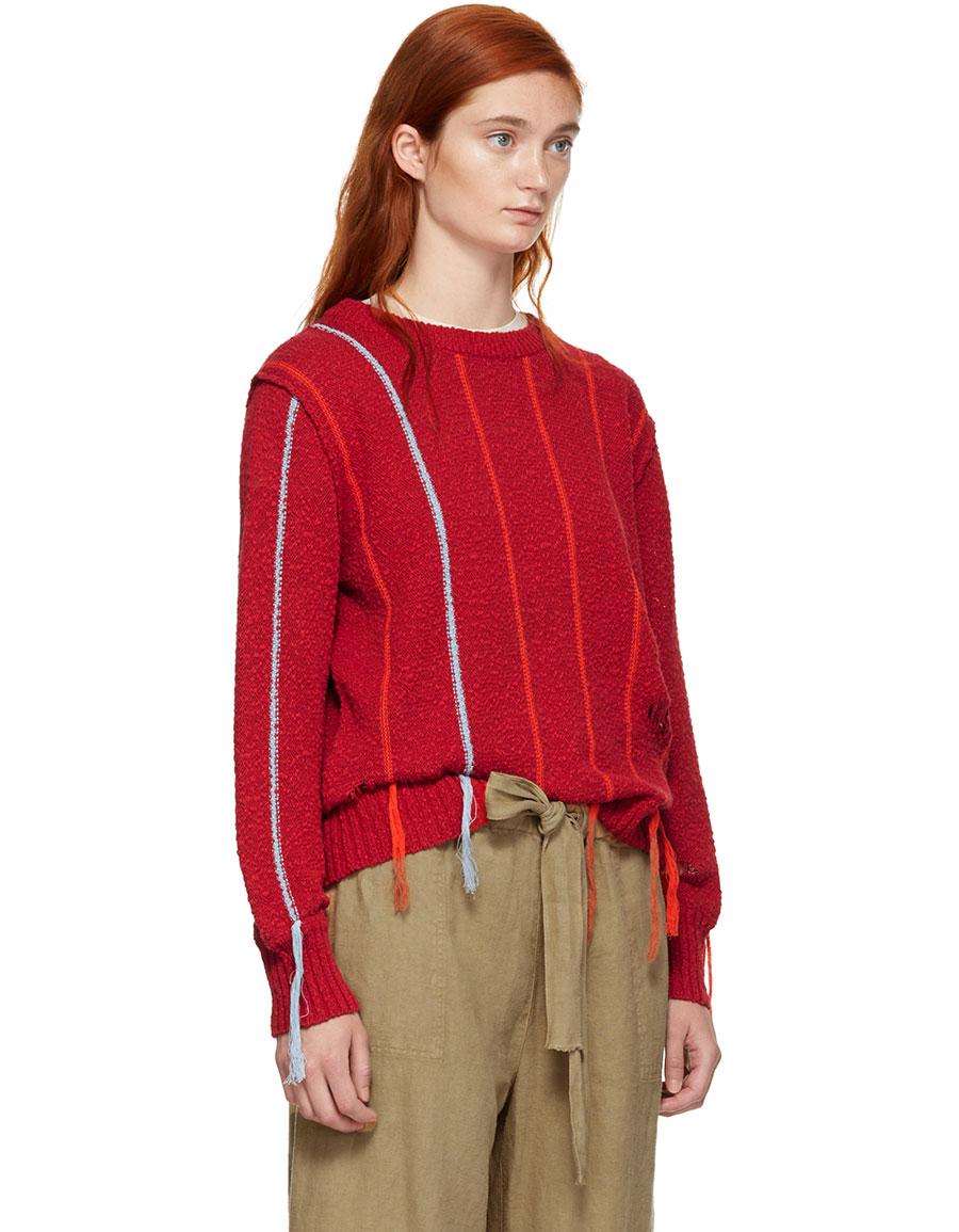 RAQUEL ALLEGRA Red Striped Fringe Sweater