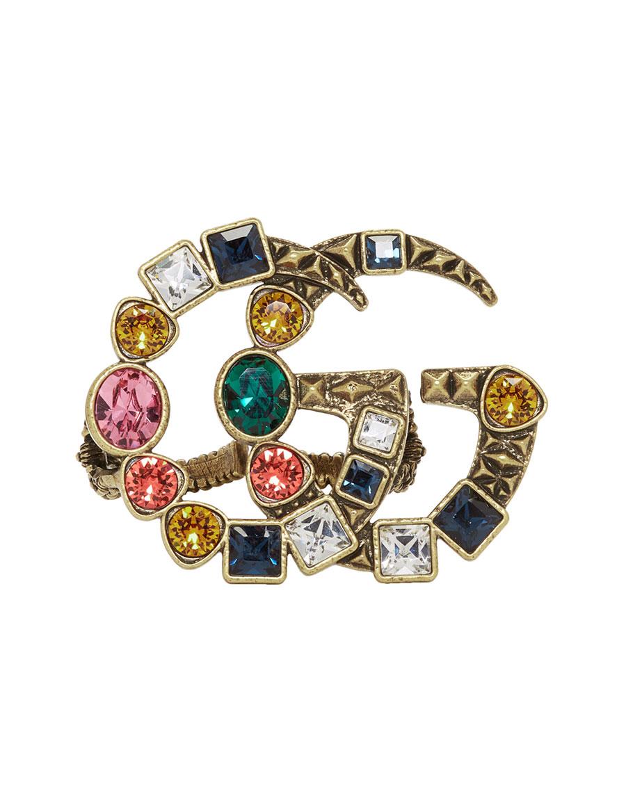 GUCCI Gold & Multicolor Crystal GG Multi Finger Ring