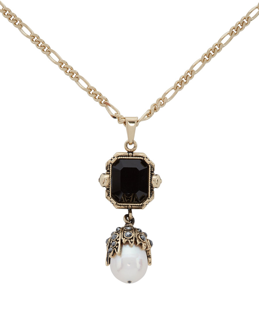 ALEXANDER MCQUEEN Gold Pearl Chain Necklace