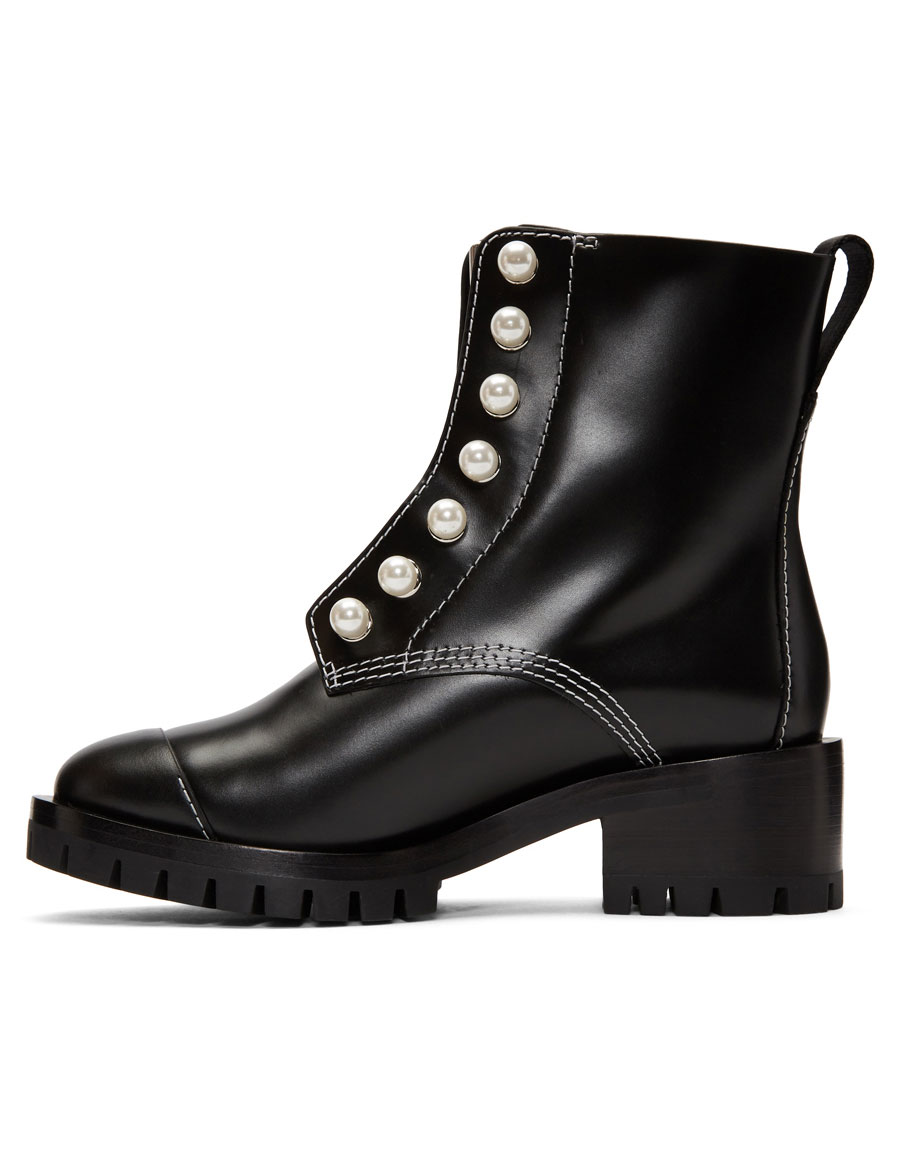 3.1 PHILLIP LIM Black Leather Lug Pearl Boots