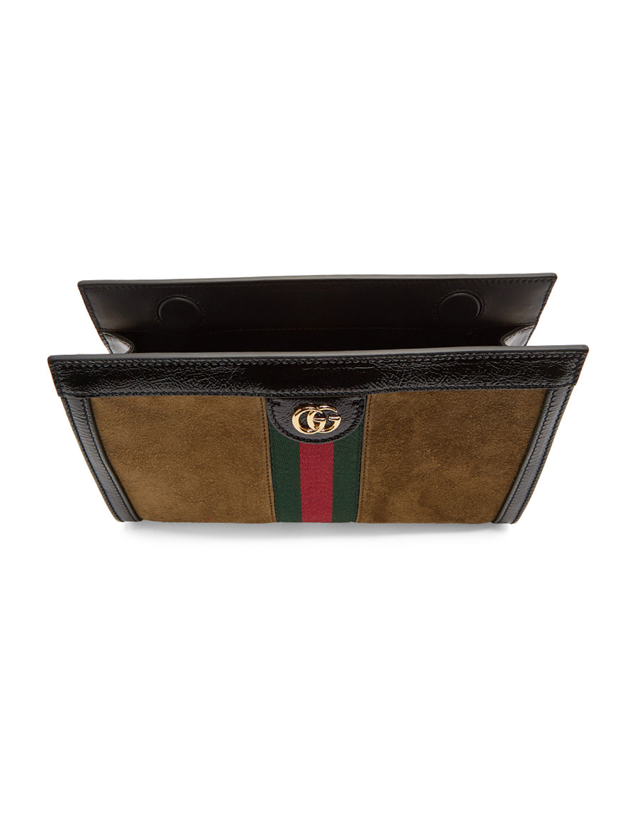 GUCCI Brown Small Suede Ophidia Shoulder Bag