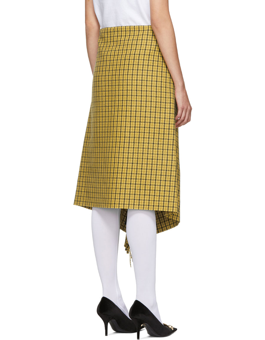 BALENCIAGA Yellow Houndstooth Fringe Skirt