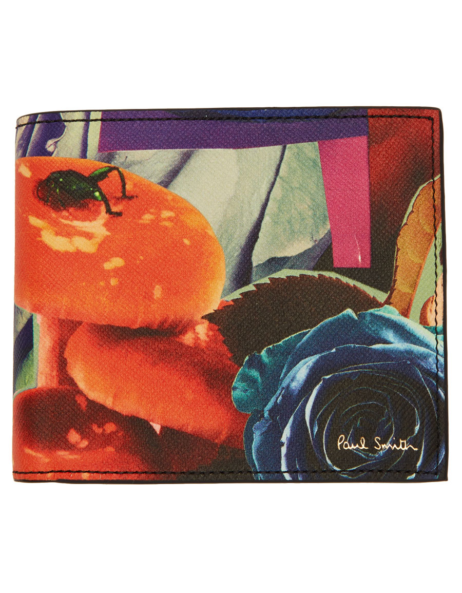 PAUL SMITH Multicolor Collage Rose Print Bifold Wallet