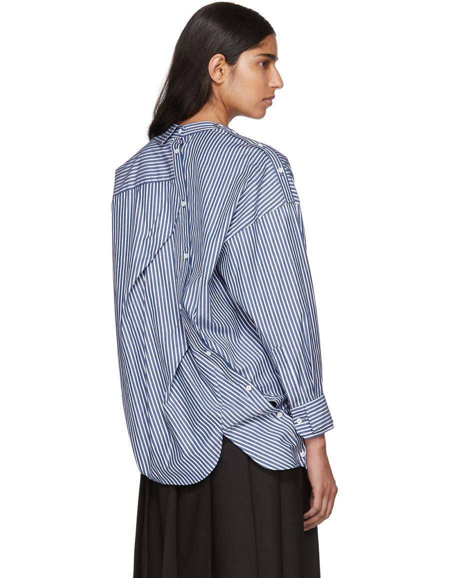 ENFOLD Blue & White Striped Broad Twist Design Shirt