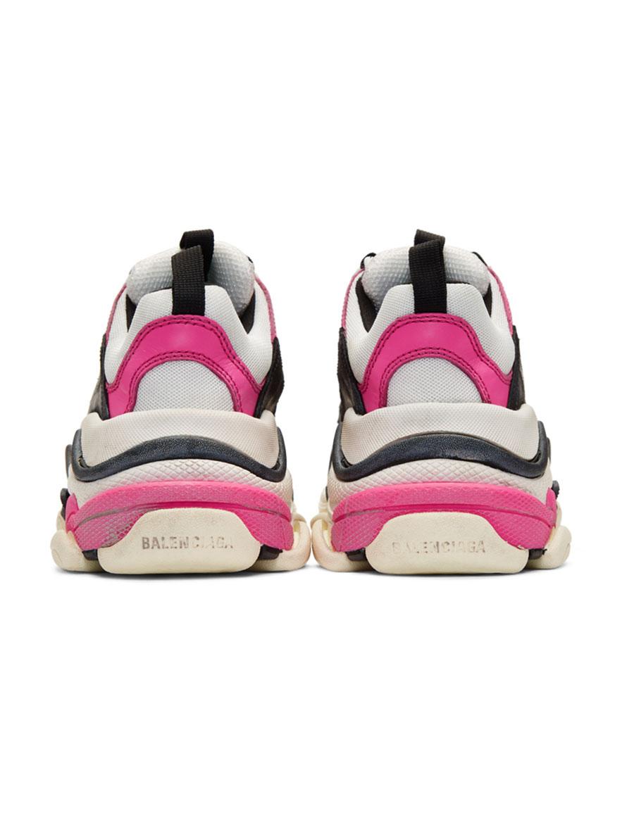 BALENCIAGA Pink & White Triple S Sneakers