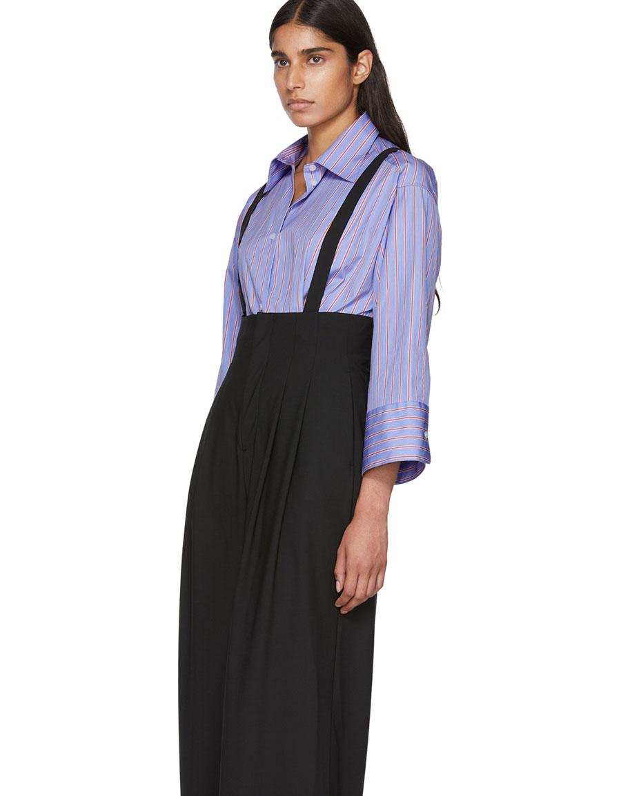 ENFOLD Black Wool Suspender Wide Leg Trousers
