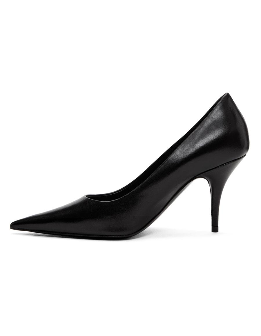 BALENCIAGA Black Pointed Leather Heels