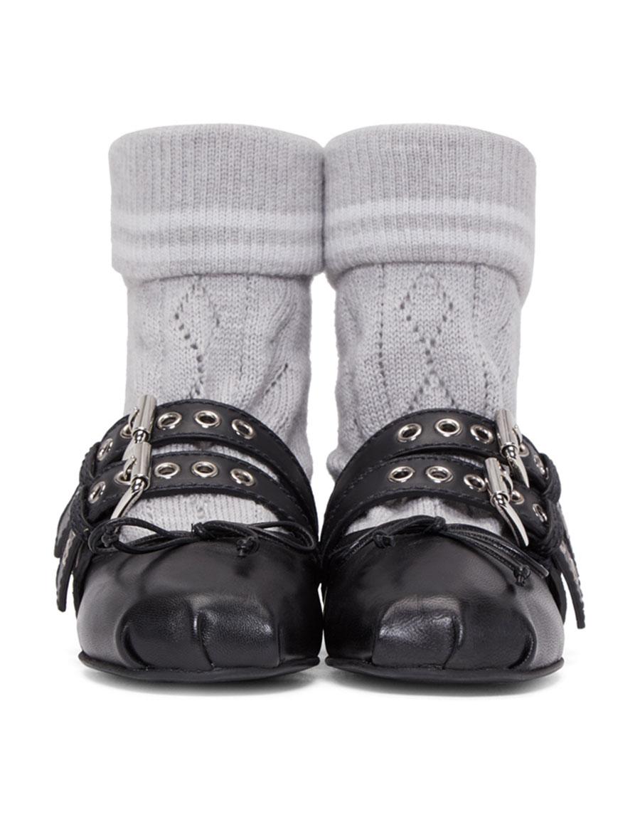 MIU MIU Black & Grey Sock Ballerina Flats
