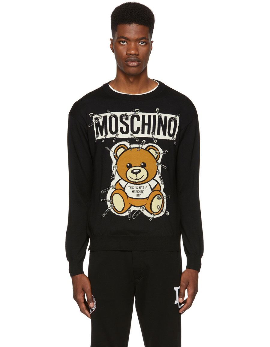 MOSCHINO Black Big Teddy Bear Crewneck Sweater