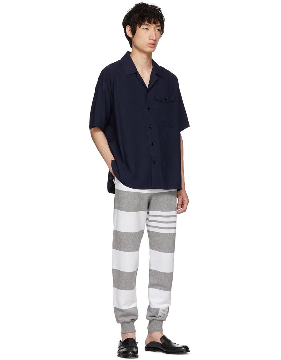 THOM BROWNE Grey Engineered Rugby Stripe Lounge Pants