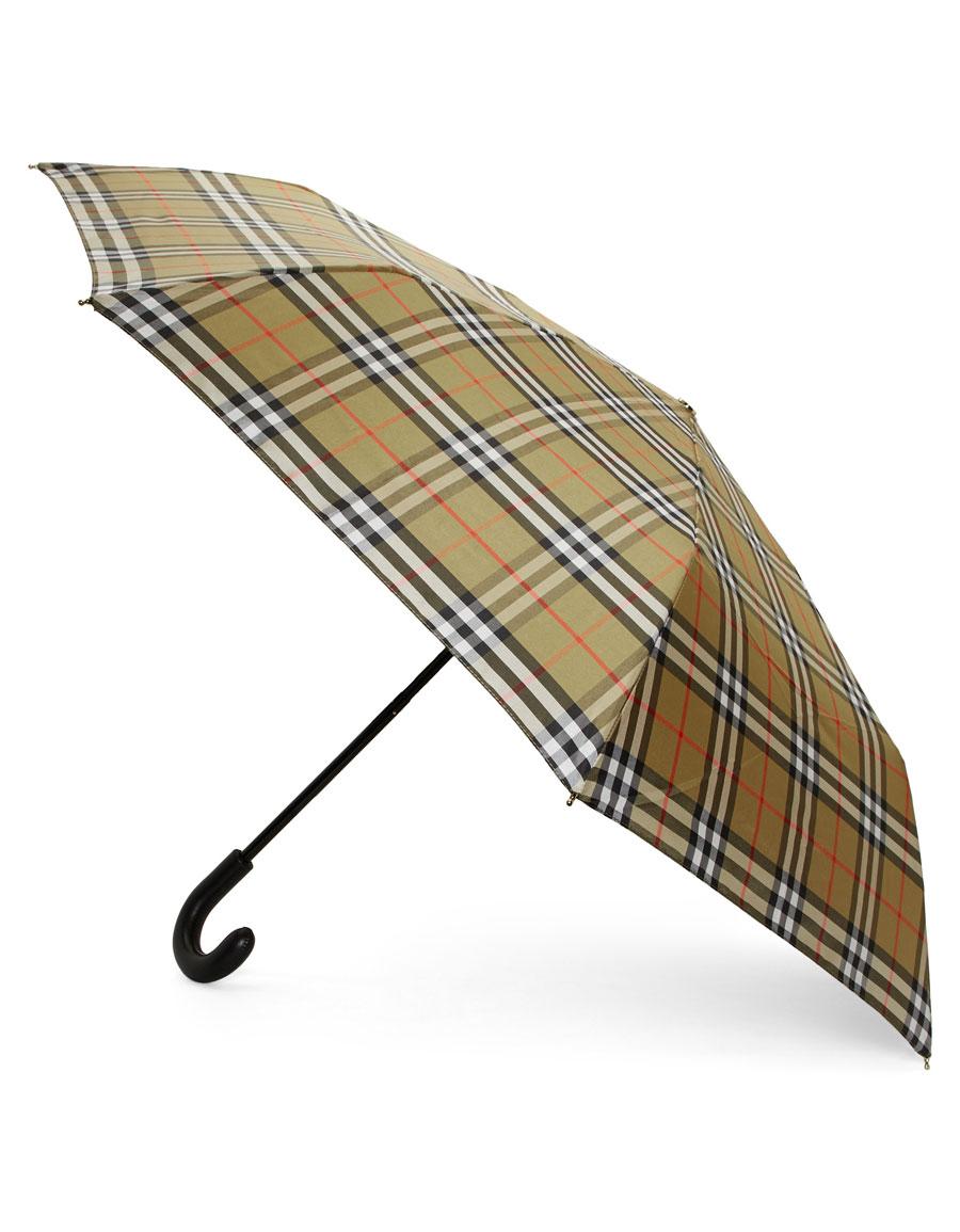 BURBERRY Beige & Black Check Collapsible Umbrella