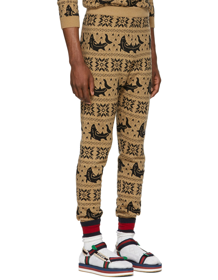 GUCCI Brown All Over Jacquard Lounge Pants