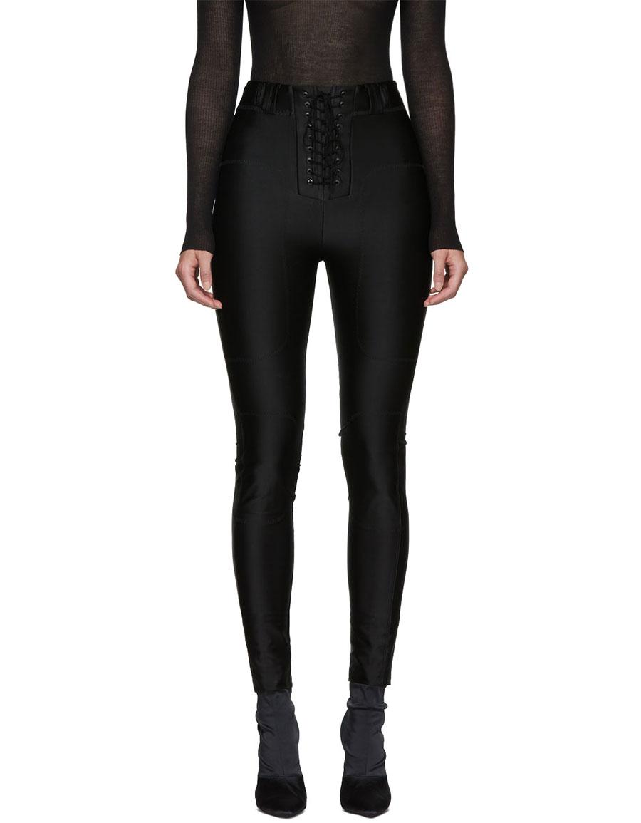UNRAVEL Black Viscose Lace Up Trousers