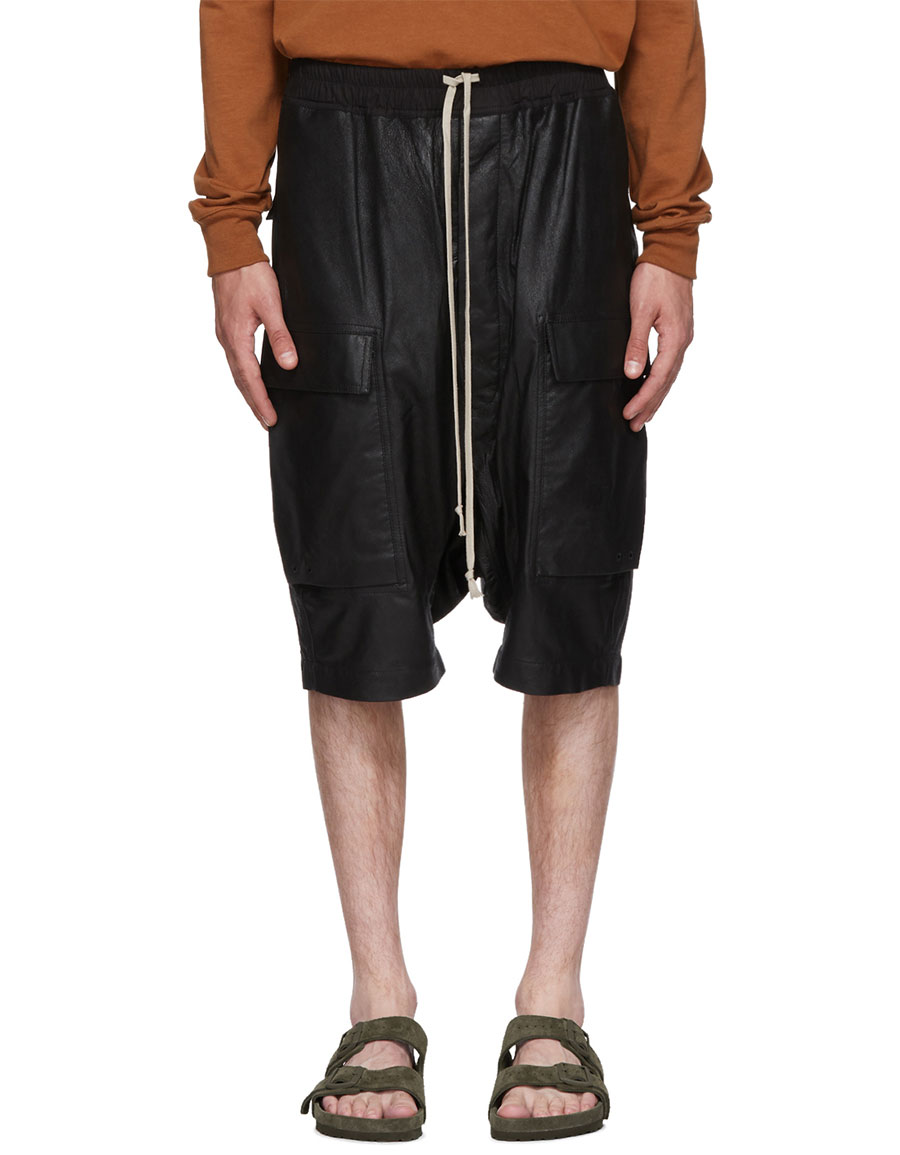 RICK OWENS Black Leather Rick's Pods Shorts