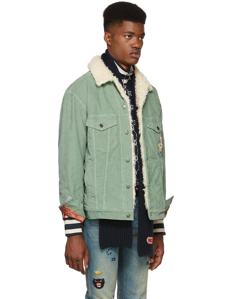 GUCCI Green Corduroy Sherpa Jacket