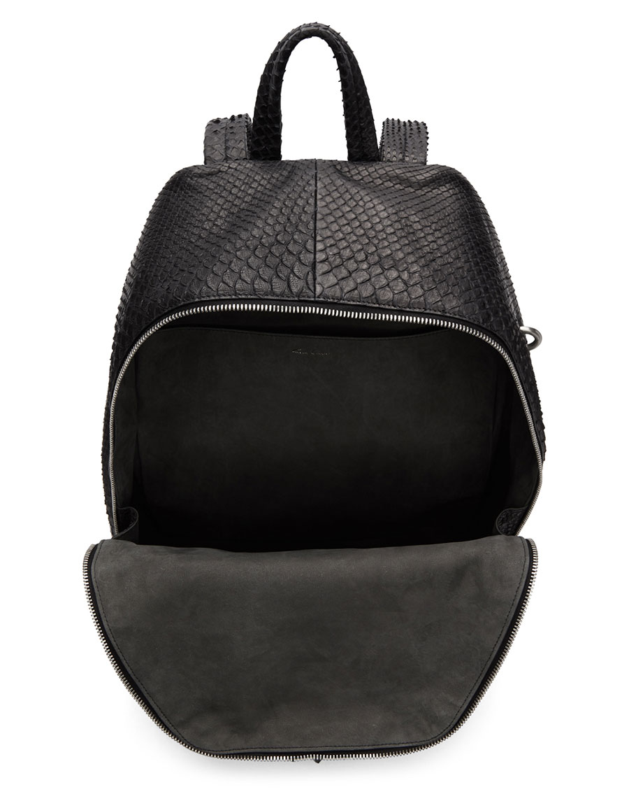 RICK OWENS Black Zaino Python Backpack