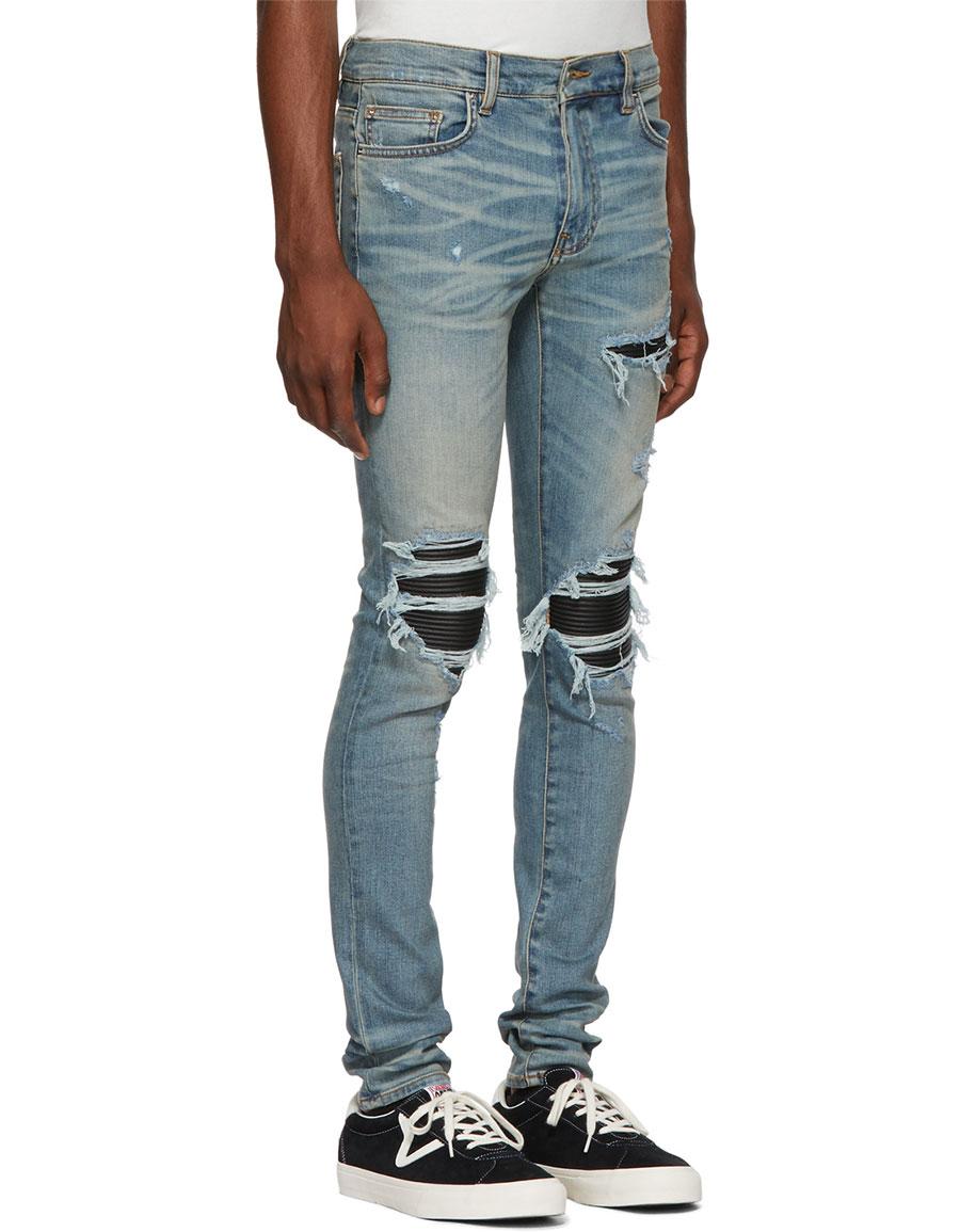 AMIRI Blue & Black Leather Patch MX 1 Jeans