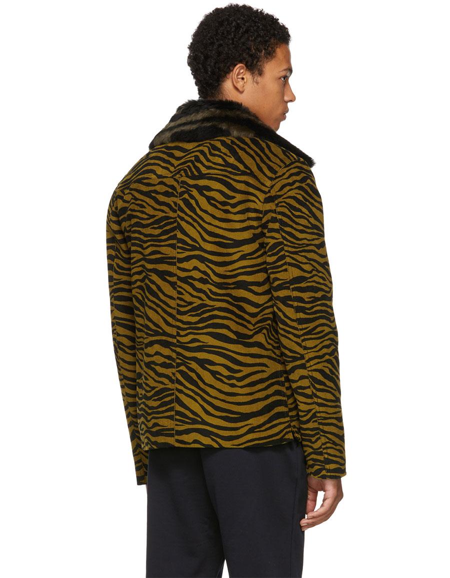 BOTTEGA VENETA Black & Yellow Lamb Shearing Zebra Jacket