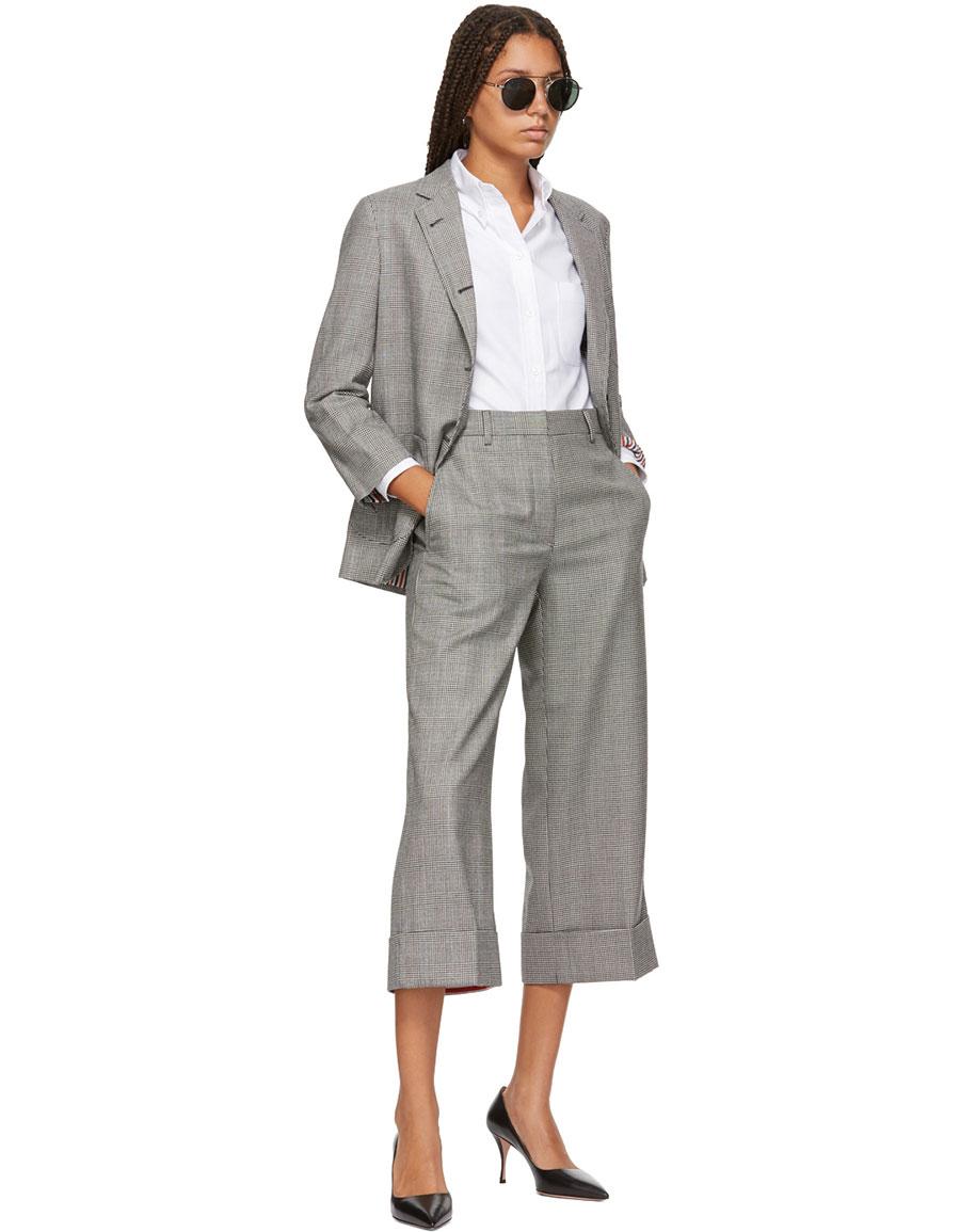 THOM BROWNE Black & White Wool Funmix Pow Sack Trousers
