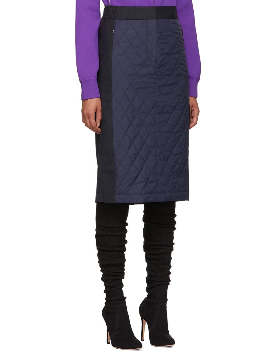 TIBI Navy & Black Quilted Combo Skirt