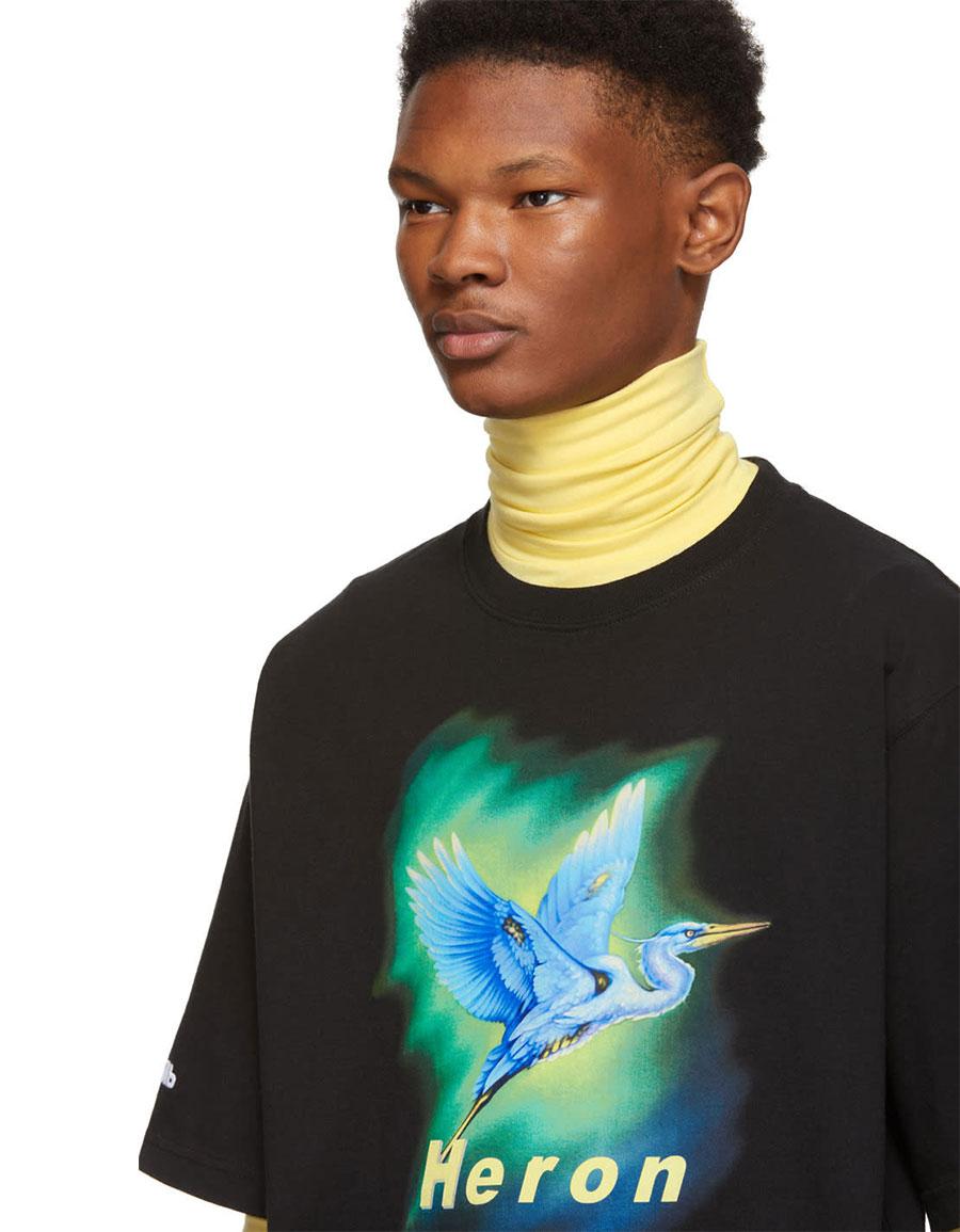 HERON PRESTON Black Airbrush T Shirt