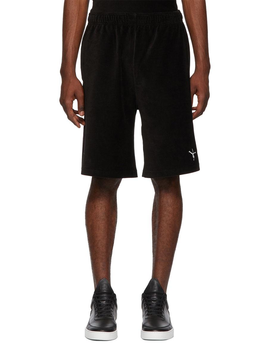 ALEXANDER WANG Black Velvet Ribbed Shorts
