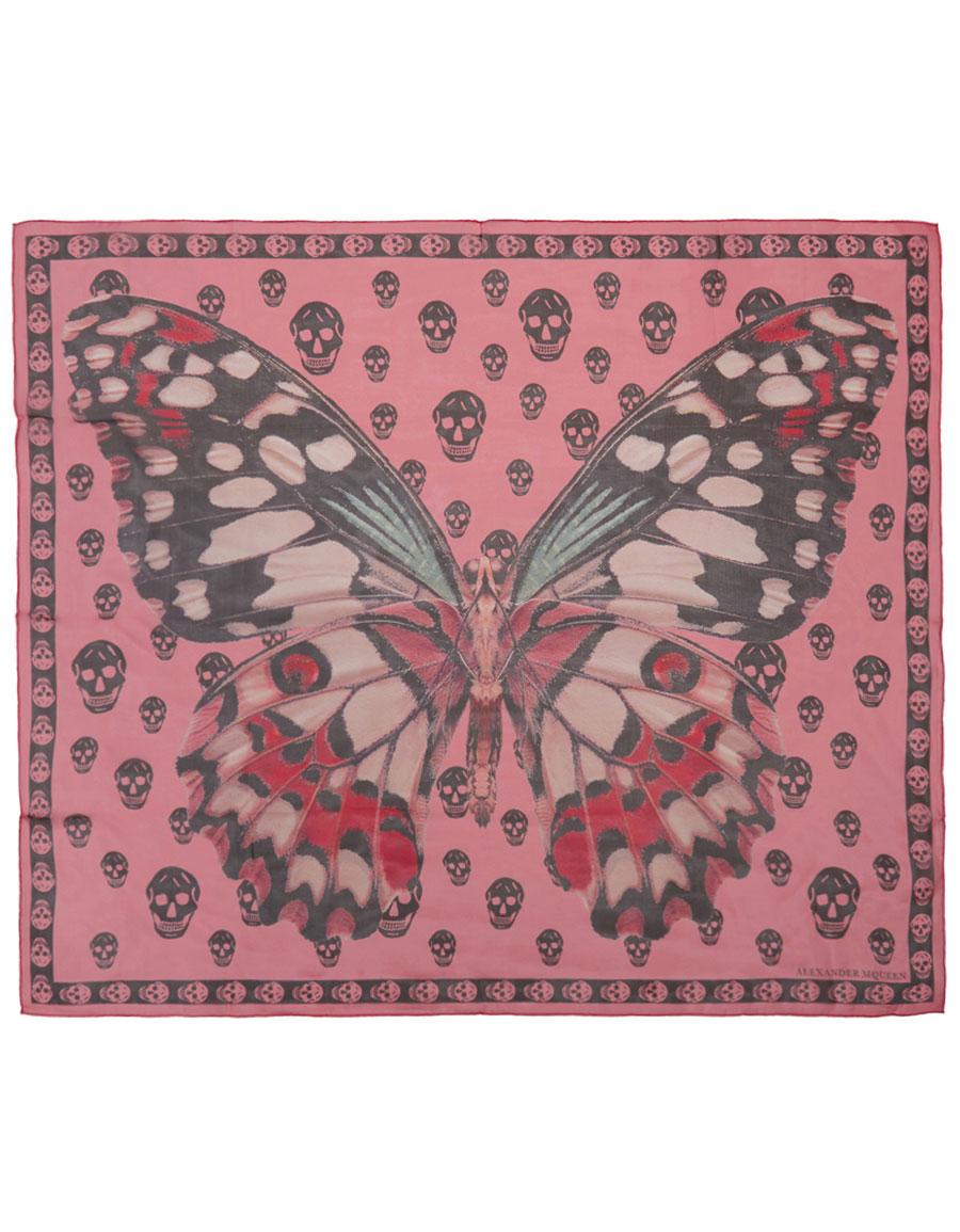 ALEXANDER MCQUEEN Pink & Black Giant Butterfly Skull Scarf