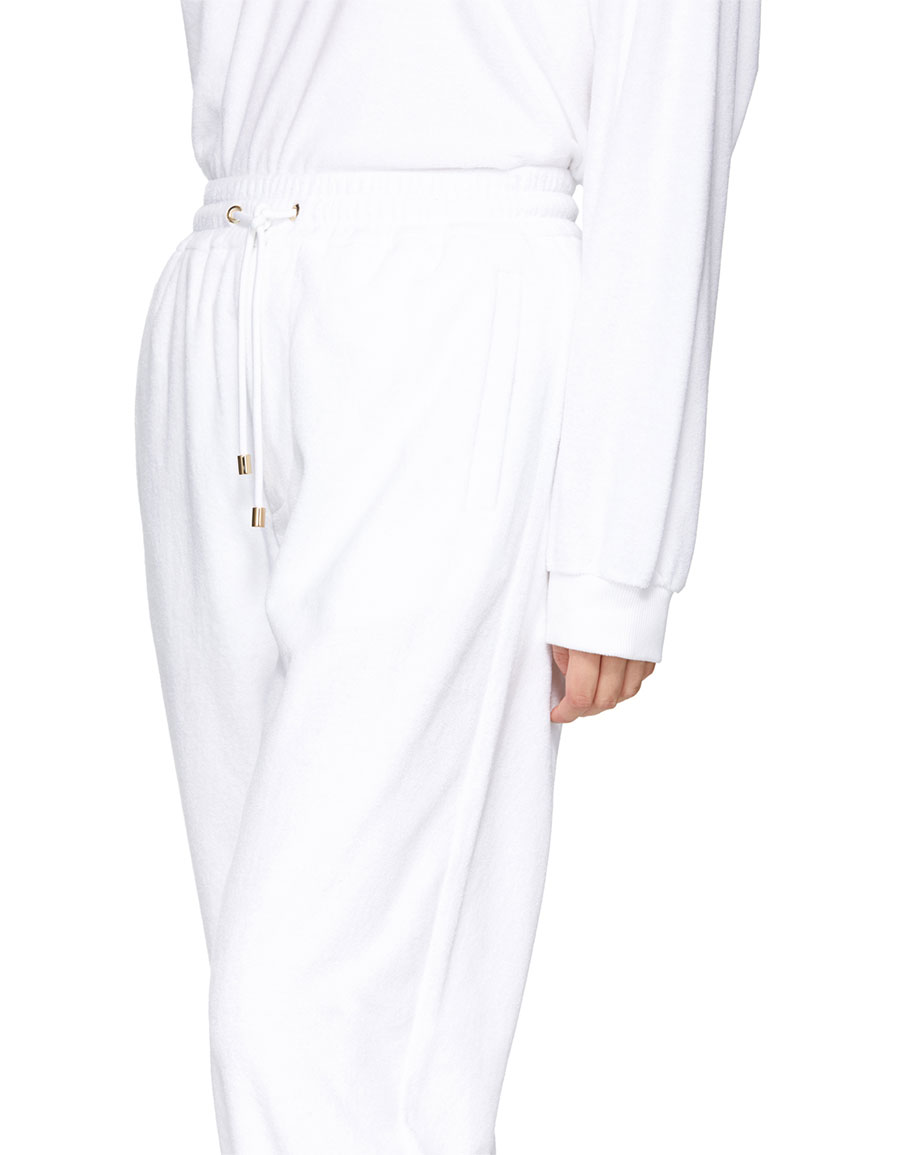 BURBERRY White Towelling Lounge Pants