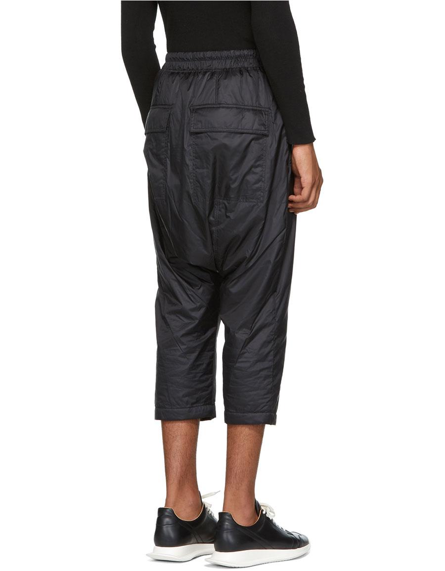 RICK OWENS Black Nylon Drawstring Trousers