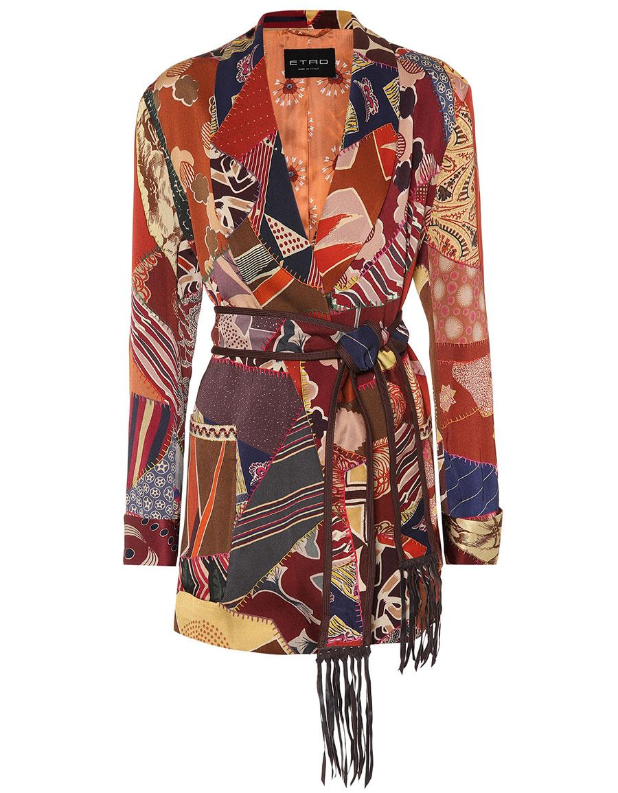 ETRO Patchwork printed satin jacket