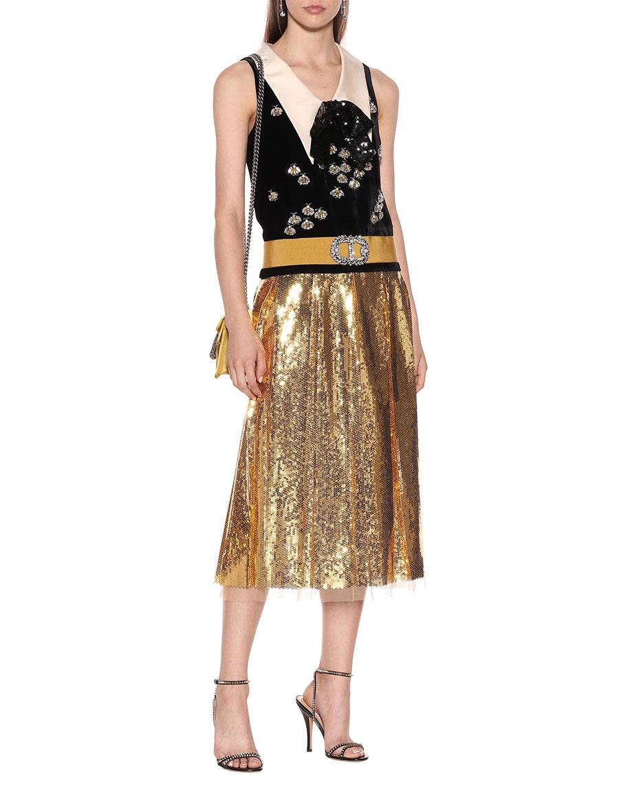 GUCCI Embellished velvet dress