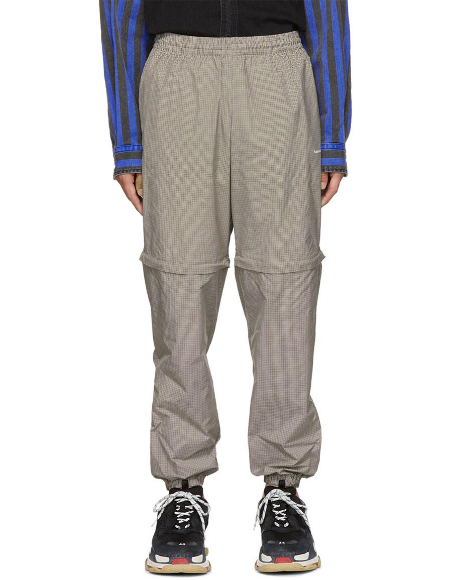 BALENCIAGA Navy & Tan Checkered Track Pants