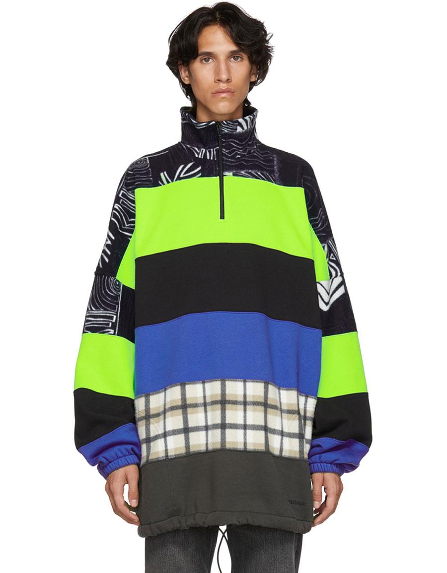 BALENCIAGA Black & Grey Multicolor Oversized Chimney Sweater