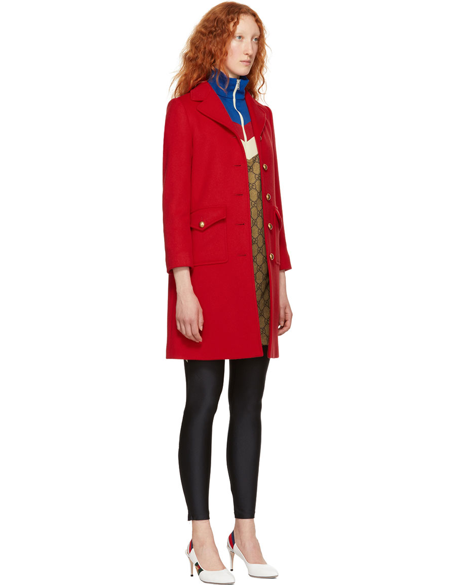 GUCCI Red Classic GG Wool Coat