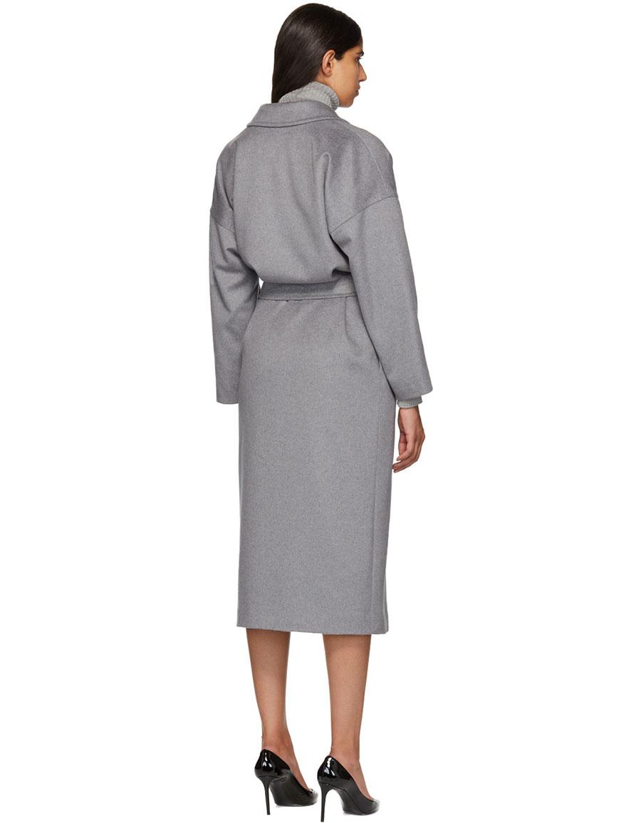 MAX MARA Grey Cashmere Teti Coat
