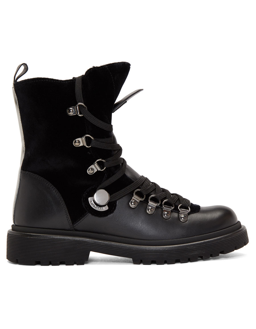 MONCLER Black Fur Berenice Hiking Boots