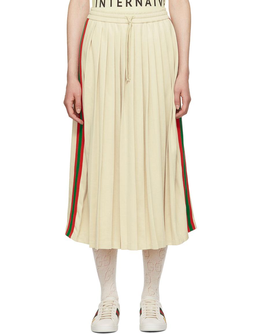 GUCCI White Pleated Webbing Drawstring Skirt
