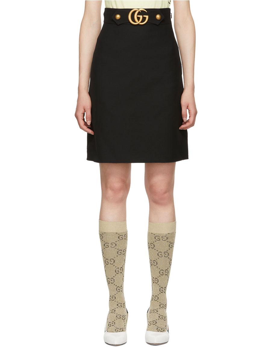 GUCCI Black Wool GG A Line Skirt
