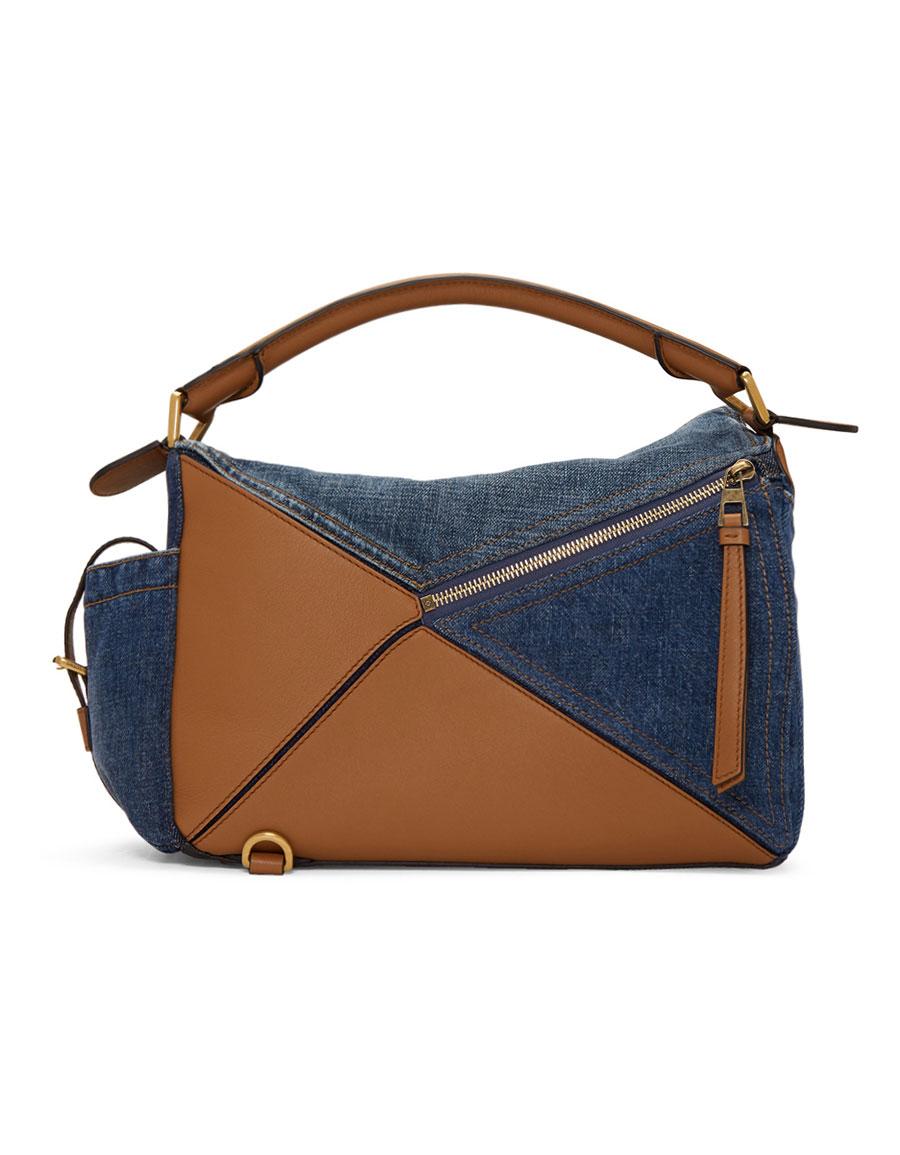 LOEWE Tan & Blue Medium Denim Puzzle Pockets Bag