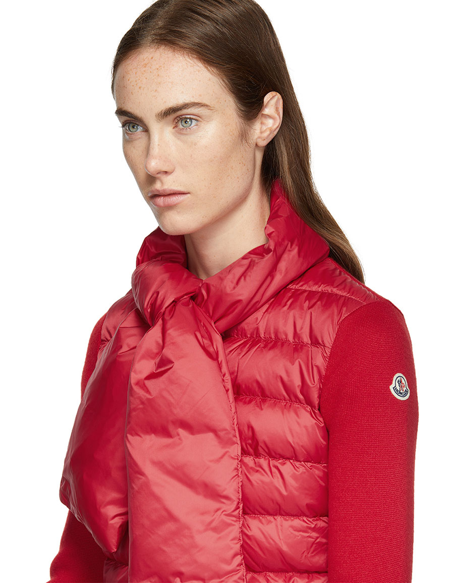 MONCLER Red Down & Knit Jacket