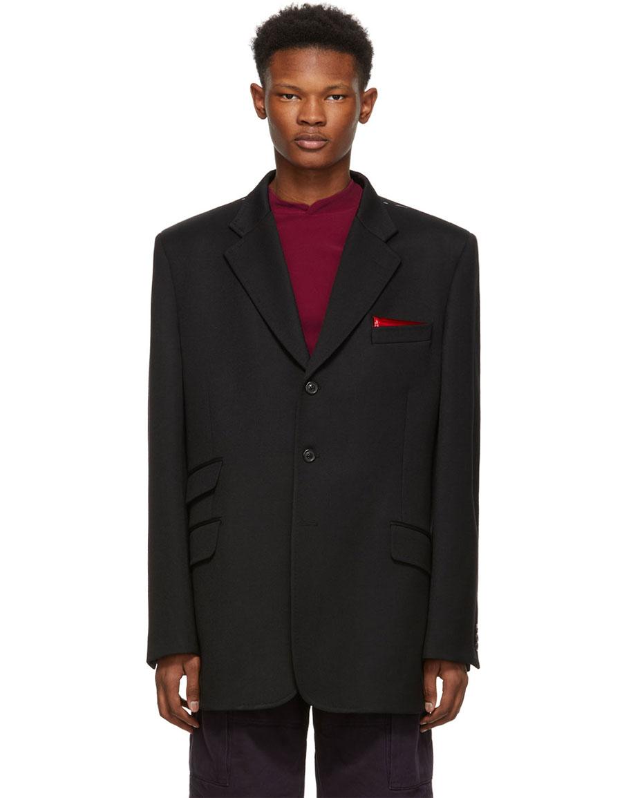 MAISON MARGIELA Black Wool Oversized Blazer