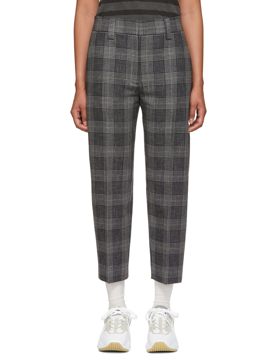 ACNE STUDIOS Blue Checkered Tapered Trousers