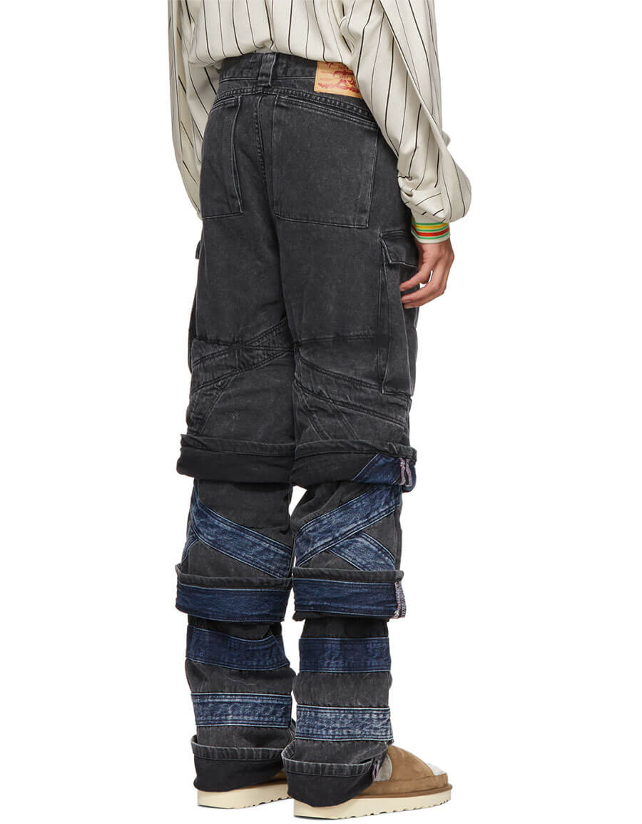 Y/PROJECT Black Layered Jeans