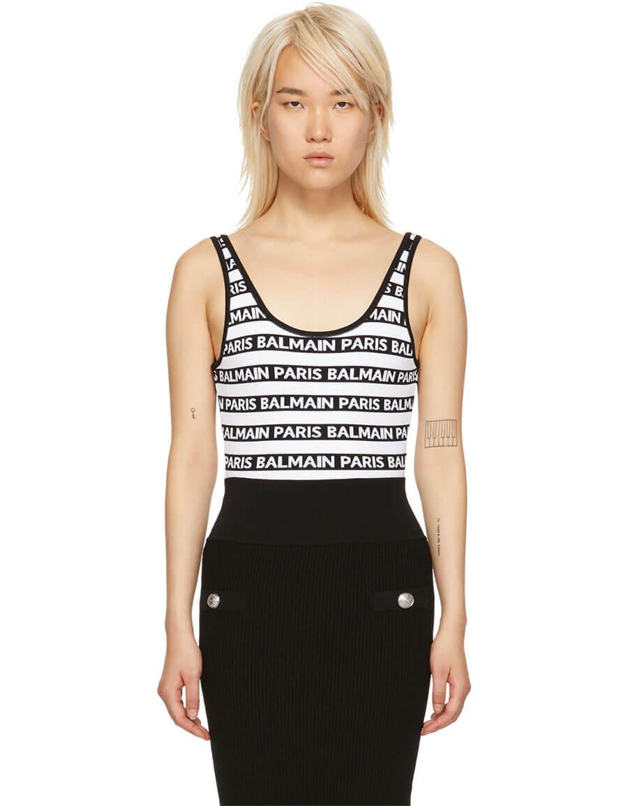 BALMAIN Black & White All Over Logo Bodysuit