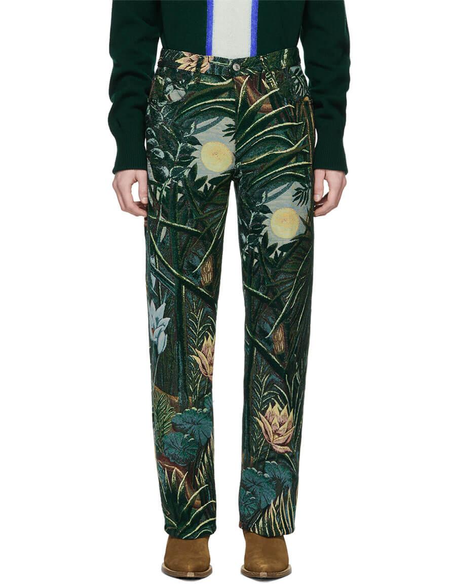 KENZO Green Jacquard Memento Straight Cut Trousers