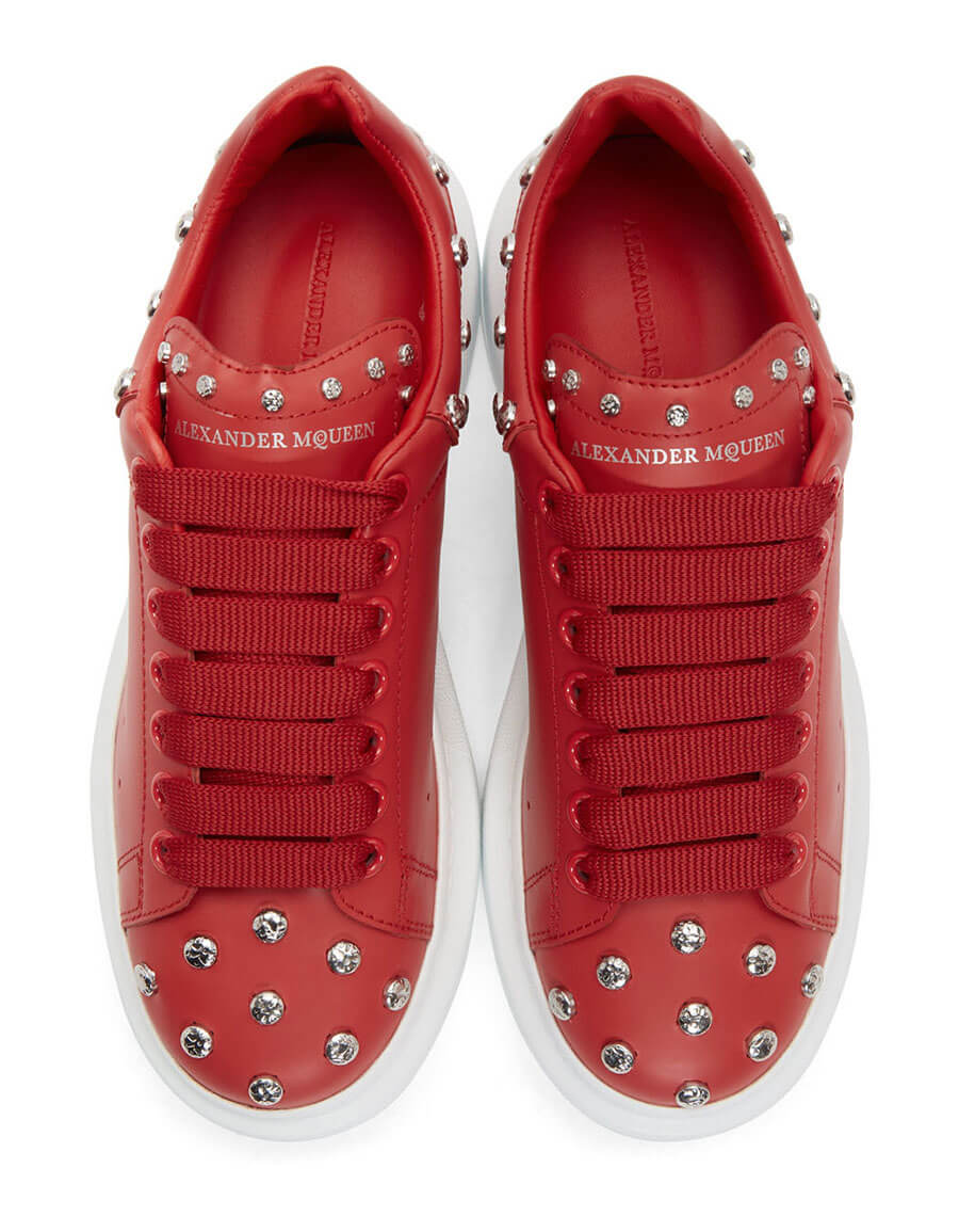 ALEXANDER MCQUEEN Red Studded Oversized Sneakers